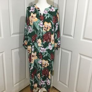 LOFT Dresses - Ann Taylor Loft Green Floral Button Dress Size LT